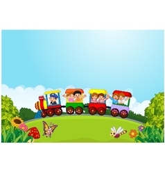 Cartoon happy kids on a colorful train vector