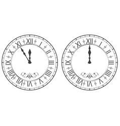 Clock with roman numerals new year midnight 12 vector