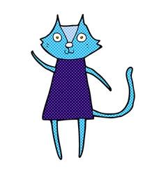 Cute comic cartoon black cat waving vector