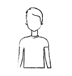Figure cute man with haistyle and t-shirt vector