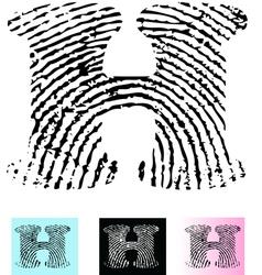 Fingerprint alphabet letter h vector