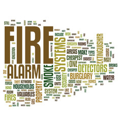 Fire alarm systems text background word cloud vector