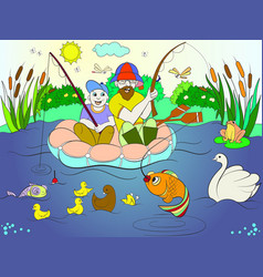 fishing father and son on the river coloring for vector image vector image