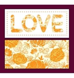 Golden art flowers love text frame pattern vector