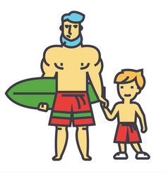 Happy father with son on vacation with surfing vector