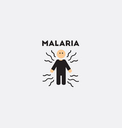 Icon on circle various symptoms of malaria vector