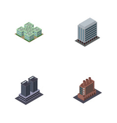 isometric urban set of industry clinic tower and vector image