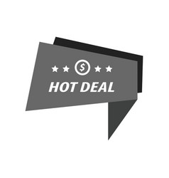 Label hot deal black color vector