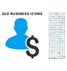 Loan Person Icon with Flat Set vector image