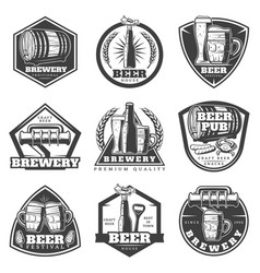 Monochrome vintage brewery labels set vector