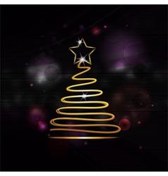 neon gold christmas tree vector image vector image