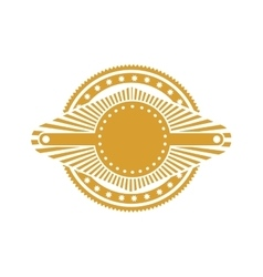 Ochre stamp abstract art deco emblem vector