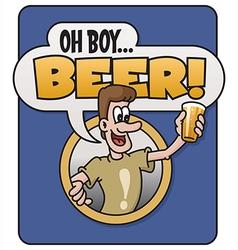 Oh boy beer design vector