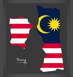 penang malaysia map with malaysian national flag vector image