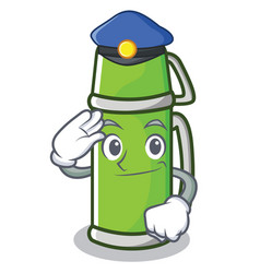 Police thermos character cartoon style vector
