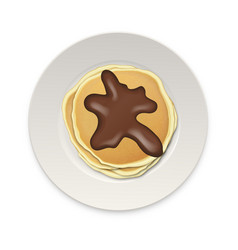 realistic pancake with chocolate on a white plate vector image vector image