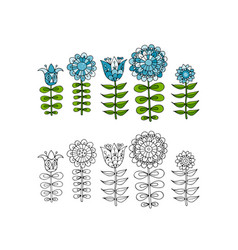 Scandinavian folk style flowers for your design vector