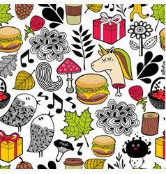 seamless pattern with cute unicorns and forest vector image