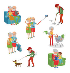 set of characters in a flat style cartoon vector image vector image