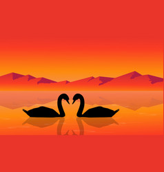 Silhouette of swan with mountain background vector