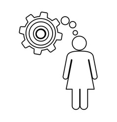 Silhouette pictogram woman thought in a pinion vector