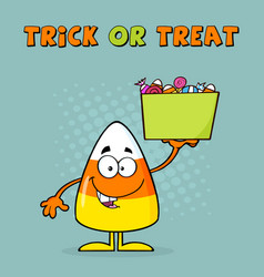 smiling candy corn cartoon character holds a box vector image vector image