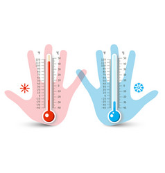 Thermometers in human hand temperature vector