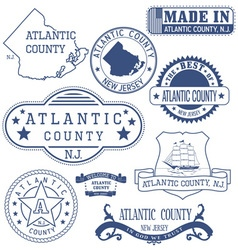 Atlantic county new jersey stamps and seals vector