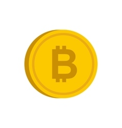 Gold coin with bitcoin sign icon flat style vector