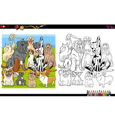 Dog breeds coloring page vector
