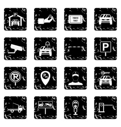 Parking set set icons grunge style vector