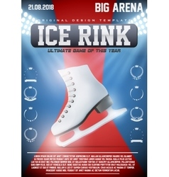 Poster template of ice skating rink vector