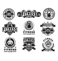 Set bodybuilding badges stickers isolated on vector