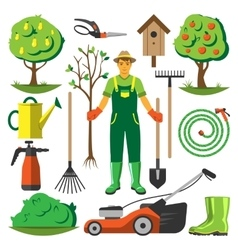 Garden equipment flat set vector
