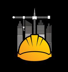 Construction building helmetruction with crane vector