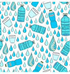 Seamless pattern with water drops and bottles vector