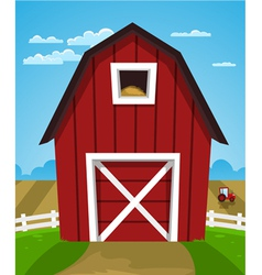 Red farm barn vector
