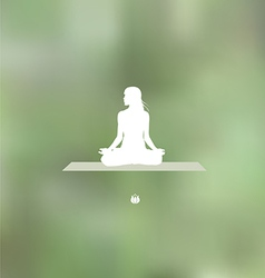 Relaxation pose blurred green background vector