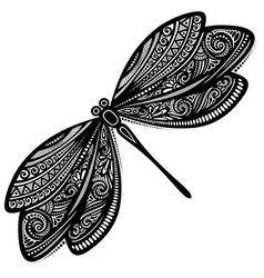 Ornate dragonfly design vector