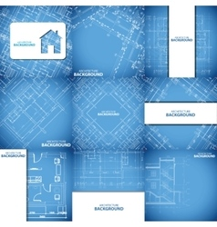 Blue architecture background set vector