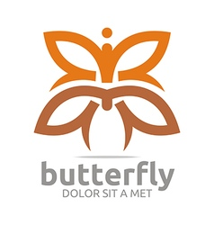 Logo butterfly leaf brown insect spring symbol vector