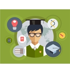Flat student for school vector