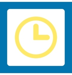 Clock flat yellow and white colors rounded button vector