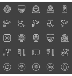 Video surveillance cameras icons vector