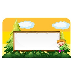 Little boy and blank board vector image