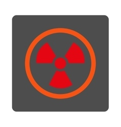 Radiation danger rounded square button vector