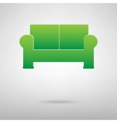 Sofa green icon vector