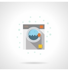 Flat color washing machine icon vector