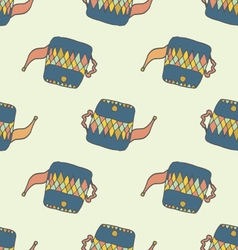 Hand drawn seamless pattern with blue teapots vector