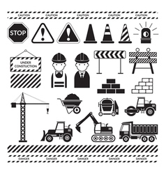 Construction objects silhouette set vector